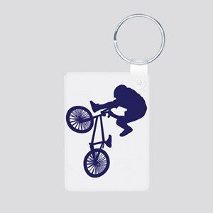 BMX Biker Aluminum Photo Keychain