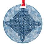 Celtic Diamond Aqua Round Ornament