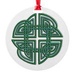 Celtic Four Leaf Clover Round Ornament