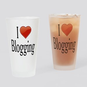 I Love Blogging Drinking Glass