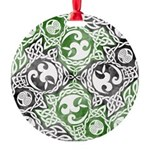 Celtic Knotwork Puzzle Square Round Ornament