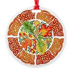 Celtic Autumn Leaves Round Ornament