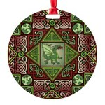 Celtic Dragon Labyrinth Round Ornament