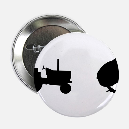 """Tractor Chick 2.25"""" Button"""