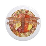 Warm Celtic Dragonfly Ornament (Round)