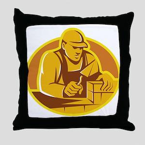 mason brick layer construction worker Throw Pillow