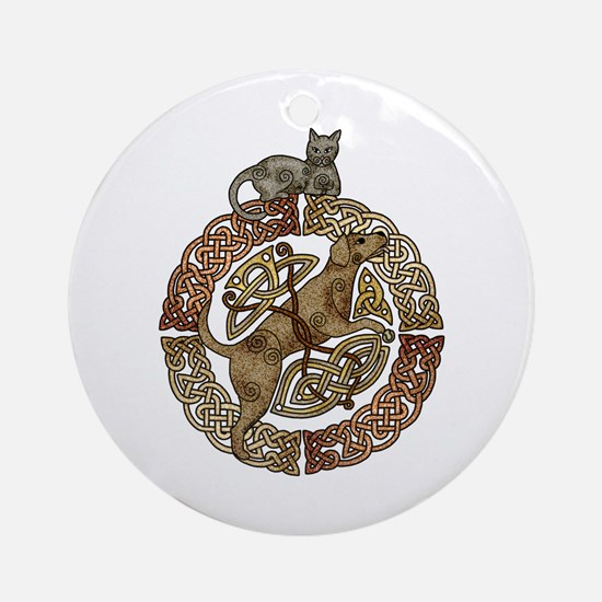 Celtic Cat and Dog Ornament (Round)