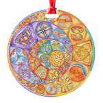 Celtic Crescents Rainbow Round Ornament