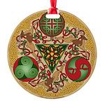 Celtic Reindeer Shield Round Ornament