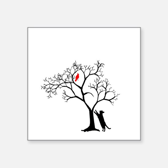 """Red Cardinal In Tree With C Square Sticker 3"""""""