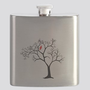 Cardinal in Snowy Tree Flask