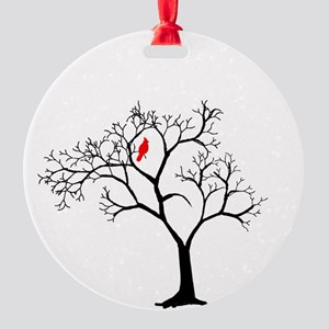 Cardinal In Snowy Tree Round Ornament