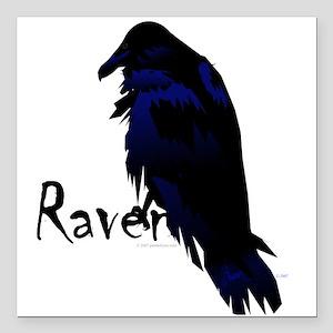 """Raven on Raven Square Car Magnet 3"""" x 3"""""""