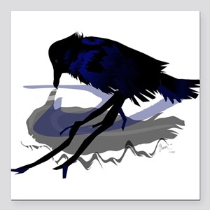 """Raven Drinking with Shadow Square Car Magnet 3"""" x"""