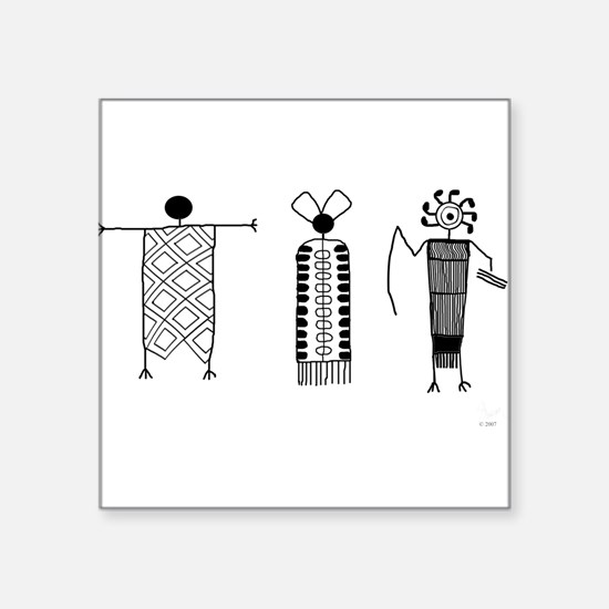 "Petroglyph People Square Sticker 3"" x 3"""