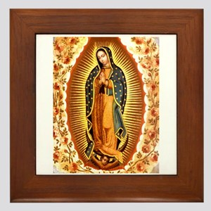 Guadalupe with Roses Framed Tile