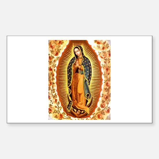 Guadalupe with Roses Rectangle Decal