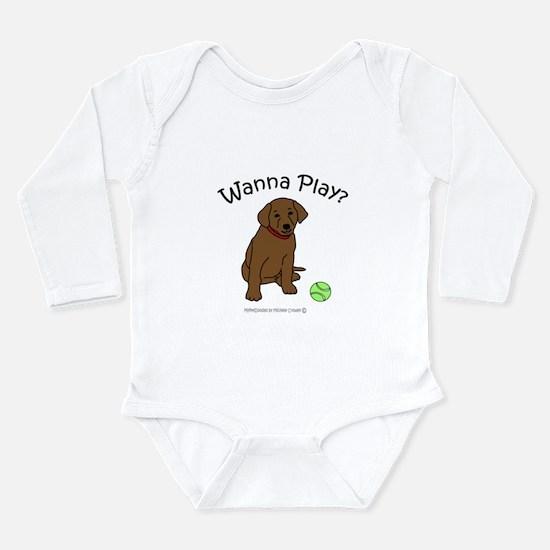 Cute Chocolate lab mom Long Sleeve Infant Bodysuit