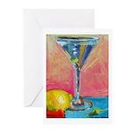 Martini with Lemon Greeting Cards