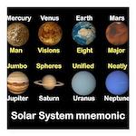 "Solar_System_NEWmonic Square Car Magnet 3"" x 3"