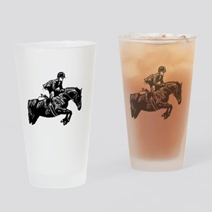 AFTM BW Jumping Horse2 Drinking Glass