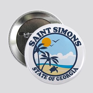 "St. Simons Island - Beach Design. 2.25"" Button"