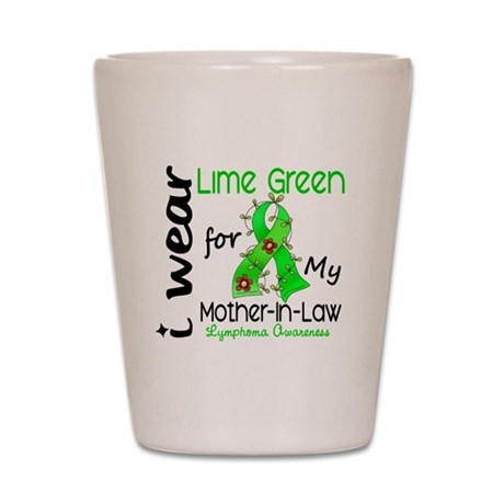 I Wear Lime 43 Lymphoma Shot Glass