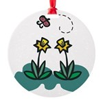 daffodils and butterfly.png Round Ornament