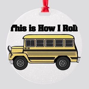 short yellow bus Round Ornament