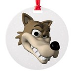 wolf smiling copy Round Ornament
