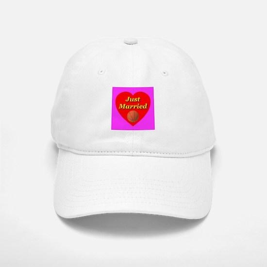 Just Married Basketball Theme Baseball Baseball Cap