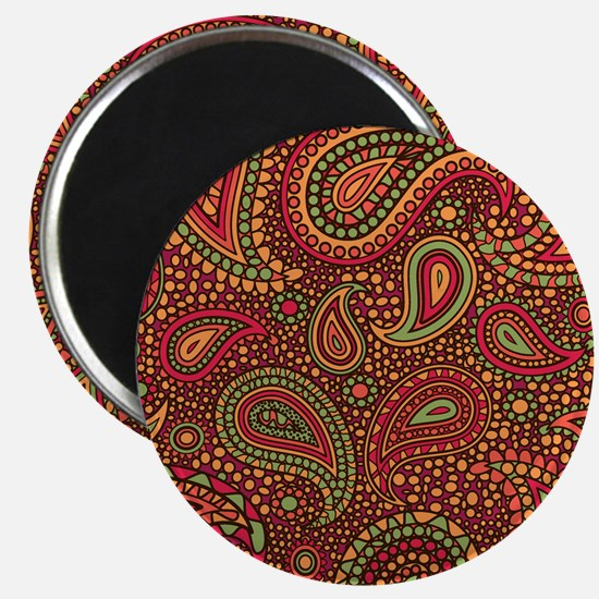 Red Mosaic Paisley Magnet