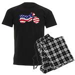 Motorcycle in American Flag Men's Dark Pajamas