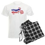 Motorcycle in American Flag Men's Light Pajamas