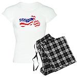 Motorcycle in American Flag Women's Light Pajamas