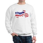 Motorcycle in American Flag Sweatshirt
