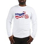Motorcycle in American Flag Long Sleeve T-Shirt