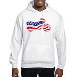 Motorcycle in American Flag Hooded Sweatshirt