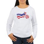 Motorcycle in American Flag Women's Long Sleeve T-
