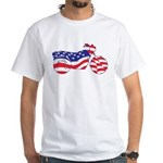 Motorcycle in American Flag White T-Shirt
