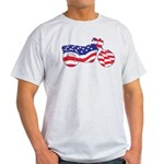 Motorcycle in American Flag Light T-Shirt