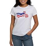Motorcycle in American Flag Women's T-Shirt