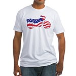 Motorcycle in American Flag Fitted T-Shirt