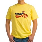 Motorcycle in American Flag Yellow T-Shirt