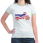 Motorcycle in American Flag Jr. Ringer T-Shirt