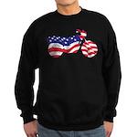 Motorcycle in American Flag Sweatshirt (dark)