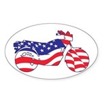 Motorcycle in American Flag Sticker (Oval)