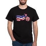 Motorcycle in American Flag Dark T-Shirt