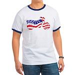 Motorcycle in American Flag Ringer T