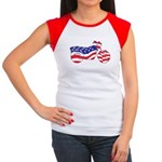 Motorcycle in American Flag Women's Cap Sleeve T-S